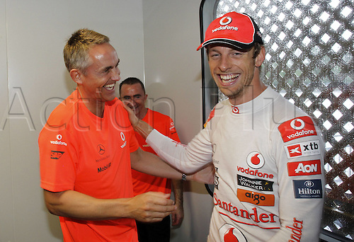 12.06.2011 Canadian Formula One Grand Prix from the Circuit Gilles Villeneuve. Picture shows Winner Jenson Button GBR McLaren Mercedes with Martin Whitmarsh GBR Team boss.