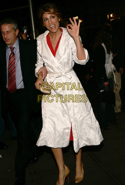 "JENNIFER ESPOSITO.The opening night performance of the broadway play ""Three Days of Rain"", New York, NY, USA..April 19th, 2006.Photo: Jackson Lee/Admedia/Capital Pictures.Ref: JL/ADM.full length white coat ok okay hand gesture.www.capitalpictures.com.sales@capitalpictures.com.© Capital Pictures."