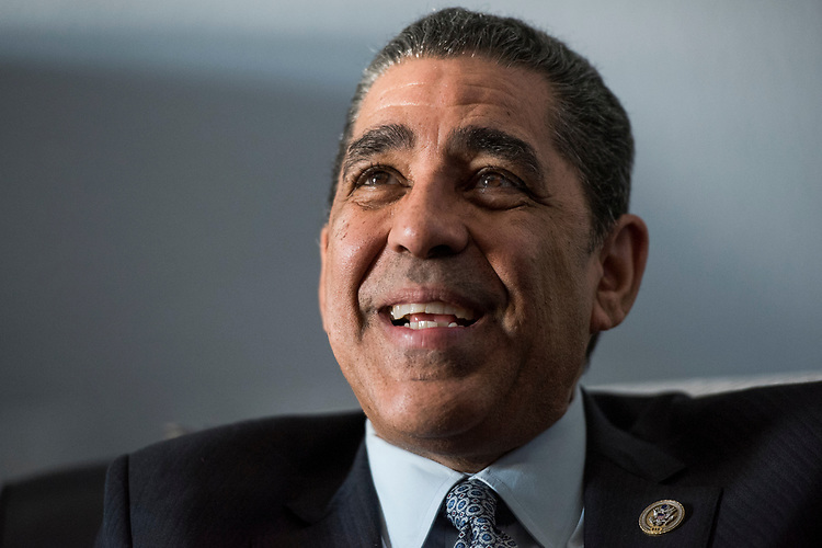 UNITED STATES - MARCH 9: Rep. Adriano Espaillat, D-N.Y., is interviewed by Roll Call in his Longworth office, March 9, 2017. (Photo By Tom Williams/CQ Roll Call)