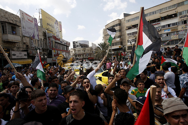 Palestinians protest against rising fuel prices and the high cost of living, in the West Bank city of Nablus, on , Sep. 09, 2012. Photo by Nedal Eshtayah