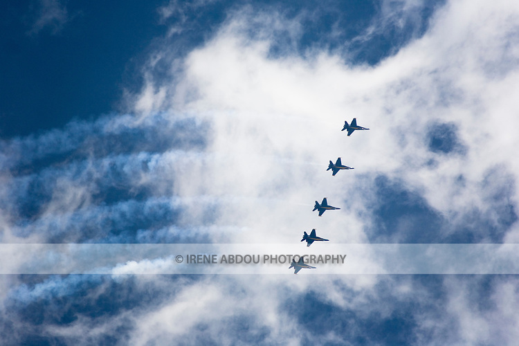 The elite U.S. Navy Blue Angels perform aerobatics at the 2008 Joint Service Open House at Andrews Air Force Base, Maryland.