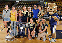 Florida International University women's volleyball player Andrea Lakovic (1) was honored on senior night after the game against Florida Gulf Coast University.  FIU won the match 3-0 on November 8, 2011 at Miami, Florida. .