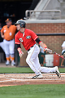 Georgia Bulldogs left fielder DJ Smith (26) swings at a pitch during a game against the Tennessee Volunteers at Lindsey Nelson Stadium March 21, 2015 in Knoxville, Tennessee. The Bulldogs defeated the Volunteers 12-7. (Tony Farlow/Four Seam Images)