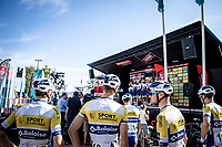 Team Sport Vlaanderen riders awaiting the pre race team presentation. <br /> <br /> 94th Schaal Sels 2019<br /> One Day Race: Merksem  >  Merksem  (UCI 1.1)<br /> ©kramon