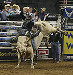 Travis Briscoe from Edgewood, NM rides Twiggy during the Built FordTough Series Copenhagen Bull Riding Invitational in Reno, Nevada on Saturday night Sept. 12th.  Photo by Tom Smedes.