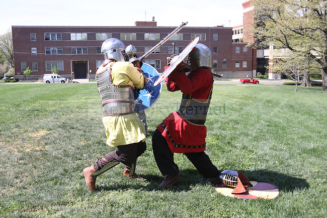 Medieval fighting in front of the Main Building on Sunday April 11, 2010. Photo by Scott Hannigan | Staff
