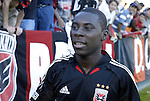 14 November 2004: Freddy Adu celebrates with the fans after the game. DC United defeated the Kansas City Wizards 3-2 to win MLS Cup 2004, Major League Soccer's championship game at the Home Depot Center in Carson, CA..