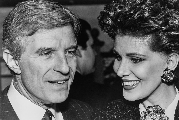Secretary of Commerce Robert Mosbacher and wife Georgette entertaining people during dinner on Feb. 13, 1990. (Photo by Laura Patterson/CQ Roll Call via Getty Images)
