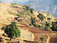 Stock photo: Small houses in the hills of western ghats in Maharashtra India.