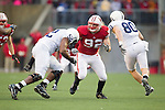Wisconsin Badgers defensive lineman Pat Muldoon (92) plays defense during an NCAA Big Ten Conference college football game against the Penn State Nittany Lions on November 26, 2011 in Madison, Wisconsin. The Badgers won 45-7. (Photo by David Stluka)
