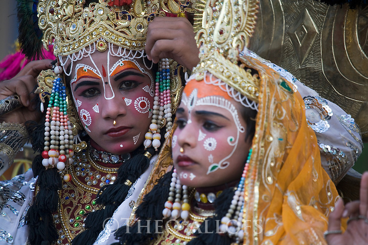 Dressed up people during a holy procession in Pushkar; Pushkar is one of the five sacred pilgrimage sites for devout Hindus, Pushkar, Rajasthan, India --- Model Released