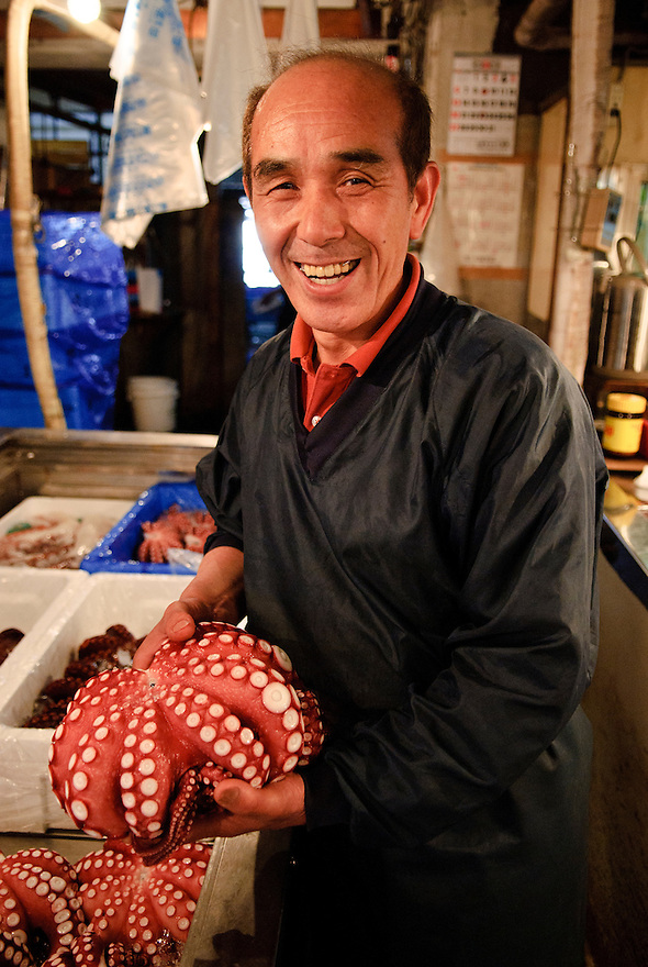 Portraits of people who work at Tsukiji fish market, Tokyo, Japan, January 18, 2007. The Tokyo Metropolitan Central Wholesale Market, better known as Tsukiji market, is the largest fish market in the world. Tsukiji is both a popular tourist attraction and a Mecca of Japanese food culture.