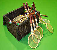 11-02-14, Netherlands,Rotterdam,Ahoy, ABNAMROWTT, Old wooden rackets in a basket<br />