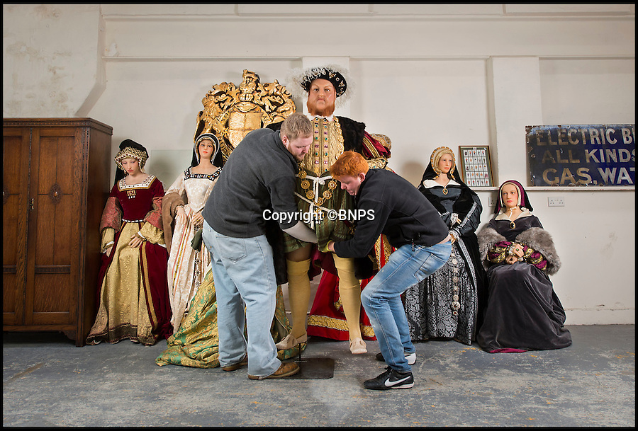 BNPS.co.uk (01202 558833)<br /> Pic: PhilYeomans/BNPS<br /> <br /> Henry VIII comes face to face with his many wives at the Chippenham Auction Rooms in Wiltshire.<br /> <br /> A waxwork statue of Sir Winston Churchill has led a £20,000 sale of a bizarre assortment of lifelike figures of the great and the good.<br /> <br /> The life-size model of the wartime Prime Minister in his pomp sold for nearly £8,000 to a private individual who plans to put it in his living room for display.<br /> <br /> The next highest figure was that of a highly-realistic Henry VIII - and everyone of his six wives. The royal group sold for £3,600 to a television props company.<br /> <br /> Other waxworks that sold included a figure of a Chelsea Pensioner, Tom Thumb dressed as Napolean Bonarpate and Queen Alexandra.<br /> <br /> The figures were all sold by the owners of Yesterday's World, a provincial museum dedicated to British social history. The attraction, in Great Yarmouth, Norfolk, went out of business last November.