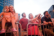 Carrie Hanlon and Anna Louk, far left, with other Avett Brothers fans during a show in downtown Pittsburgh, PA, Saturday, June 21, 2008.