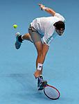London UK 12th November 2018 Nitto ATP World Tour Finals at 02 Arena London UK Novak Djokovic SRB Vs John Isner USA Isner in action during the match
