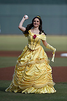 "Disney character Belle throws out a ceremonial first pitch on ""Princess Knight"" at the Columbia Fireflies a game against the Charleston RiverDogs on Saturday, April 6, 2019, at Segra Park in Columbia, South Carolina. Columbia won, 3-2. (Tom Priddy/Four Seam Images)"