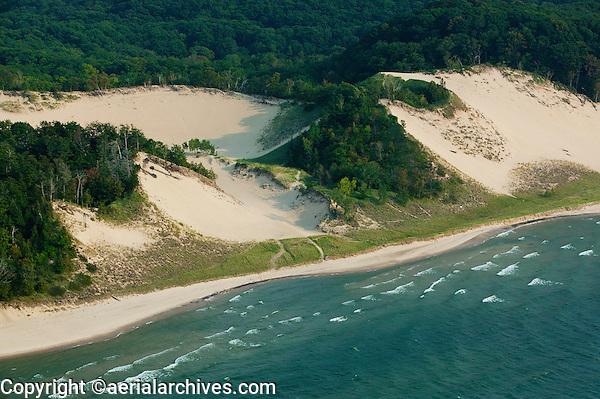 aerial photograph sand dunes Lake Michigan, Michigan shoreline