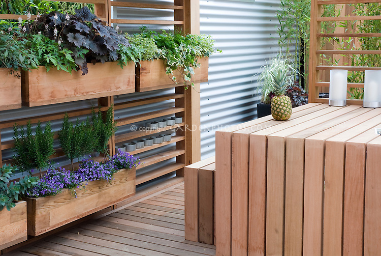 Deck with runner boxes planted vertical