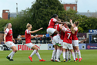 Emma Mitchell of Arsenal Women is congratulated after scoring the first goal during Arsenal Women vs Manchester City Women, FA Women's Super League Football at Meadow Park on 11th May 2019