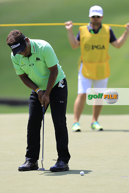 Thongchai Jaidee (THA) putts on the 13th green during Thursday's Round 1 of the 2017 PGA Championship held at Quail Hollow Golf Club, Charlotte, North Carolina, USA. 10th August 2017.<br /> Picture: Eoin Clarke | Golffile<br /> <br /> <br /> All photos usage must carry mandatory copyright credit (&copy; Golffile | Eoin Clarke)