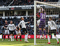 Derby County's goalkeeper Kelle Roos saves under pressure from Bolton Wanderers' Clayton Donaldson <br /> <br /> Photographer Andrew Kearns/CameraSport<br /> <br /> The EFL Sky Bet Championship - Derby County v Bolton Wanderers - Saturday 13th April 2019 - Pride Park - Derby<br /> <br /> World Copyright &copy; 2019 CameraSport. All rights reserved. 43 Linden Ave. Countesthorpe. Leicester. England. LE8 5PG - Tel: +44 (0) 116 277 4147 - admin@camerasport.com - www.camerasport.com