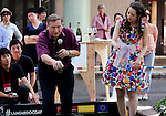 """May 21, 2016, Tokyo, Japan - French restaurant Pachon owner chef Andre Pachon (L), who is last year's petanque champion in Japan, throws an iron ball for the promotion of petanque, French ball game in Tokyo on Saturday, May 21, 2016 as a  part of """"Aperitif 365"""" event. Thousands of visitors are expecting to enjoy aperitifs and hors d'oeuvres at the three-day event for the promotion of French foods and drinks.  (Photo by Yoshio Tsunoda/AFLO) LWX -ytd"""