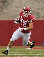 Hawgs Illustrated/BEN GOFF <br /> Hayden Johnson, Arkansas fullback, runs after a catch in the fourth quarter against Mississippi State Saturday, Nov. 18, 2017, at Reynolds Razorback Stadium in Fayetteville.