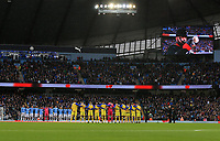 2nd November 2019; Etihad Stadium, Manchester, Lancashire, England; English Premier League Football, Manchester City versus Southampton; the payers from both teams line up during the Remembrance Day commemorations prior to the kick off - Strictly Editorial Use Only. No use with unauthorized audio, video, data, fixture lists, club/league logos or 'live' services. Online in-match use limited to 120 images, no video emulation. No use in betting, games or single club/league/player publications