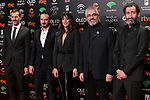 Jose Maria Goenaga (l), Aitor Arregui, Belen Cuesta, Vicente Vergara and Jon Garano attend the Candidates to Goya Cinema Awards party at Florida Retiro on December 16, 2019 in Madrid, Spain.(ALTERPHOTOS/ItahisaHernandez)