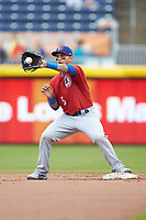 Tim Lopes (5) of the Buffalo Bison fields a throw at second base during the game against the Durham Bulls at Durham Bulls Athletic Park on April 25, 2018 in Allentown, Pennsylvania.  The Bison defeated the Bulls 5-2.  (Brian Westerholt/Four Seam Images)