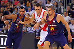 League ACB-ENDESA 2017/2018. Game: 1.<br /> FC Barcelona Lassa vs Baskonia: 87-82.<br /> Adam Hanga, Johannes Voigtmann &amp; Adrien Moerman.