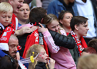Salford City fans celebrates after the AFC Fylde vs Salford City, Vanarama National League Play-Off Final Football at Wembley Stadium on 11th May 2019