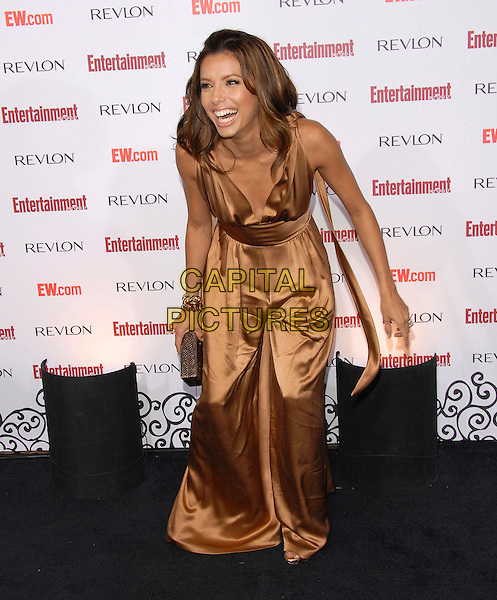 EVA LONGORIA.attends The Entertainment Weekly 5th Annual Pre-Emmy Party held at Opera & Crimson in Hollywood, California, USA, September 15 2007..full length orange bronze satin silk all-in-one pantsuit jumpsuit catsuit funny.CAP/DVS.©Debbie VanStory/Capital Pictures