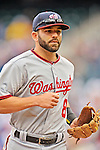 11 April 2012: Washington Nationals infielder Danny Espinosa returns to the dugout during a game against the New York Mets at Citi Field in Flushing, New York. The Nationals shut out the Mets 4-0 to take the rubber match of their 3-game series. Mandatory Credit: Ed Wolfstein Photo