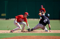 Philadelphia Phillies Curtis Mead (38) puts a tag on Kyle Gray (2) as he slides into second base during a Florida Instructional League game against the New York Yankees on October 12, 2018 at Spectrum Field in Clearwater, Florida.  (Mike Janes/Four Seam Images)