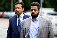 Pictured: Khitish Mohanty (left) arrives at Cardiff Crown Court, Cardiff, Wales, UK. Monday 07 October 2019<br /> Re: An orthopaedic surgeon has appeared in crown court to plead not guilty to two historical sex offence charges.<br /> Khitish Mohanty, 52, from Cardiff, denies allegations that he assaulted a woman on two occasions.<br /> The alleged assaults happened on 17 October 2005.