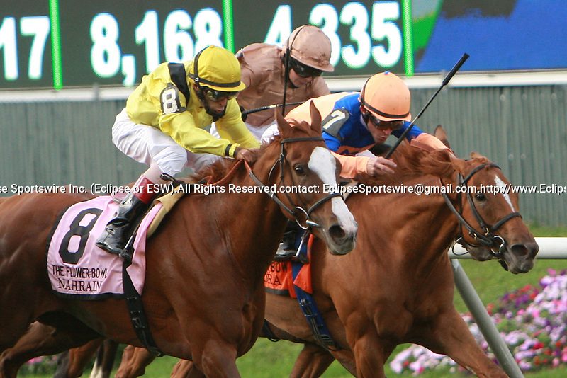 Nahrain (GB), ridden by John Velazquez, wins the Flower Bowl Invitation (GI) at Belmont Park in Elmont, New York on September 29, 2012