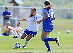 BROOKINGS, SD - SEPTEMBER 4:  Annie Williams #23 from South Dakota State looks to pass the ball around Lauren Sullivan #20 from Creighton during their match Sunday afternoon at Fischback Soccer Complex in Brookings. (Photo by Dave Eggen/Inertia)