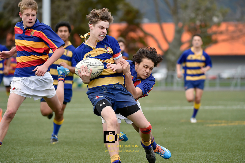 Action from the Hurricanes U15 Rugby Tournament - Tawa College v St Bernard's College  at Maidstone Park, Upper Hutt, New Zealand on Tuesday 1 September 2015.<br /> Photo by Masanori Udagawa. www.photowellington.photoshelter.com.