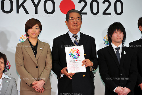 (L to R) Reiko Shiota,  Shintaro Ishihara Governor of Tokyo, Kohei Uchimura, .FEBRUARY 16, 2012 - : Press conference for the 2020 Olympic and Paralympic Games candidate Tokyo applies application file, Tokyo, Japan. (Photo by Jun Tsukida/AFLO SPORT) [0003].
