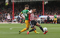 Preston North End's Sean Maguire and Brentford's Rico Henry<br /> <br /> Photographer Rob Newell/CameraSport<br /> <br /> The EFL Sky Bet Championship - Brentford v Preston North End - Sunday 5th May 2019 - Griffin Park - Brentford<br /> <br /> World Copyright © 2019 CameraSport. All rights reserved. 43 Linden Ave. Countesthorpe. Leicester. England. LE8 5PG - Tel: +44 (0) 116 277 4147 - admin@camerasport.com - www.camerasport.com