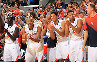 Virginia players reacts to a call during the game Wednesday Jan. 7, 2015 in Charlottesville, Va. Virginia won 61-51.