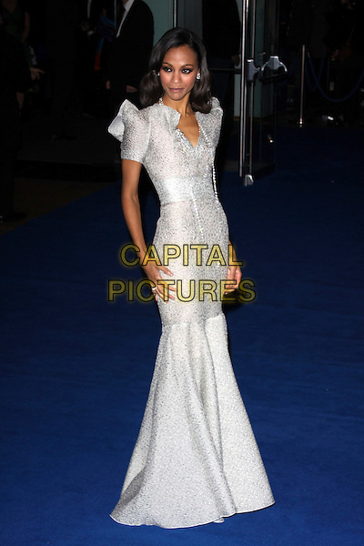 "ZOE SALDANA.Arrivals - World Premiere of ""Avatar"", Odeon Leicester Square, London, England..December 10th, 2009.full length grey gray silver dress shoulder pads long maxi gown fishtail beads beaded .CAP/AH.©Adam Houghton/Capital Pictures."