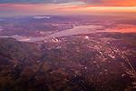 Aerial at sunrise over Pleasant Hill, Martinez, Susuin Bay, and the Carquinez Strait, California
