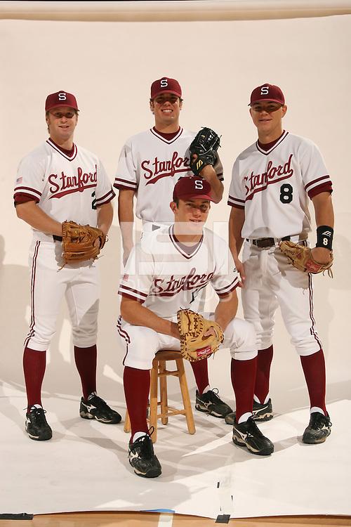 1 December 2005: Baseball cover shoot for the media guide. Mark Marquess, Matt Manship, Chris Lewis, Chris Minaker, and John Hester.