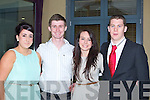 ATTENDENCE: Students from Brookfield College, Collis Sands who were rewarded with award foir their attendance at Brookfields college during the year 201/11 at Ballyroe Heights Hotel, Tralee on Tuesday evening. L-r: Leanmne O'Sullivan Killarneyl),( Michael Prendergast (Castlemaine), Shauna Sheehan (Killarney) and Philipp Barrett (Ballyroe)....