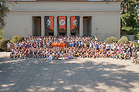 Group photo of the class of 2015, taken at Orientation, Occidental College, Los Angeles, August 27, 2011. (Photo by Marc Campos, Occidental College Photographer)
