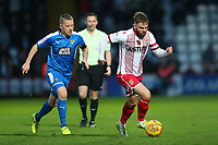 Matthew Godden of Stevenage evades Terry Hawkridge of Notts County during Stevenage vs Notts County, Sky Bet EFL League 2 Football at the Lamex Stadium on 11th November 2017
