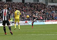 Lewis Morgan taking a free kick in the St Mirren v Livingston Scottish Professional Football League Ladbrokes Championship match played at the Paisley 2021 Stadium, Paisley on 14.4.18.